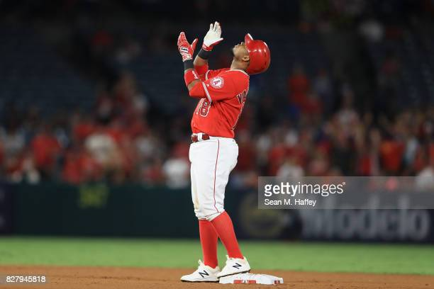 Luis Valbuena of the Los Angeles Angels of Anaheim looks up after hitting an RBI double during the seventh inning of a game against the Baltimore...