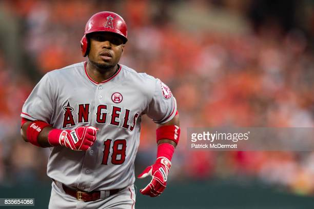 Luis Valbuena of the Los Angeles Angels of Anaheim runs the bases after hitting a solo home run in the second inning during a game against the...