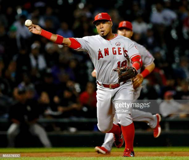 Luis Valbuena of the Los Angeles Angels of Anaheim throws to first base for an out against the Chicago White Sox during the fifth inning at...