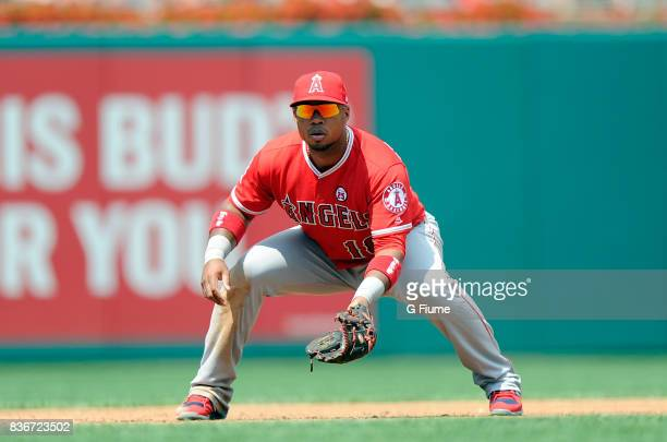 Luis Valbuena of the Los Angeles Angels plays third base against the Washington Nationals at Nationals Park on August 16 2017 in Washington DC