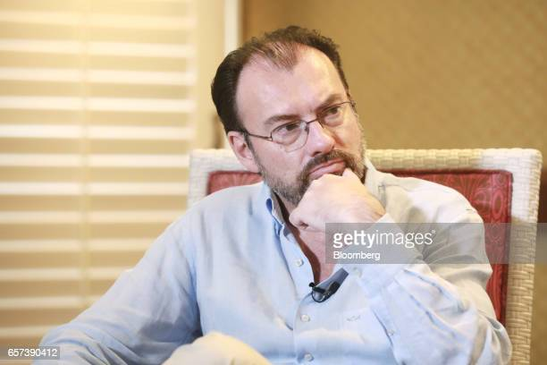 Luis Videgaray Mexico's foreign relations minister listens during an interview on the sidelines of the 80th annual Mexican Banking Association in...