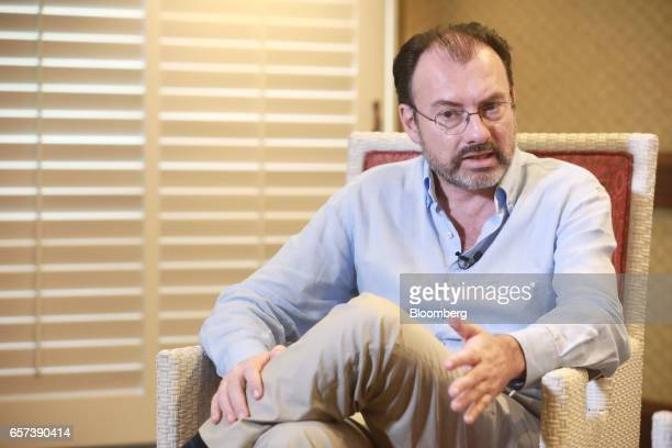 Luis Videgaray Mexico's foreign relations minister speaks during an interview on the sidelines of the 80th annual Mexican Banking Association in...
