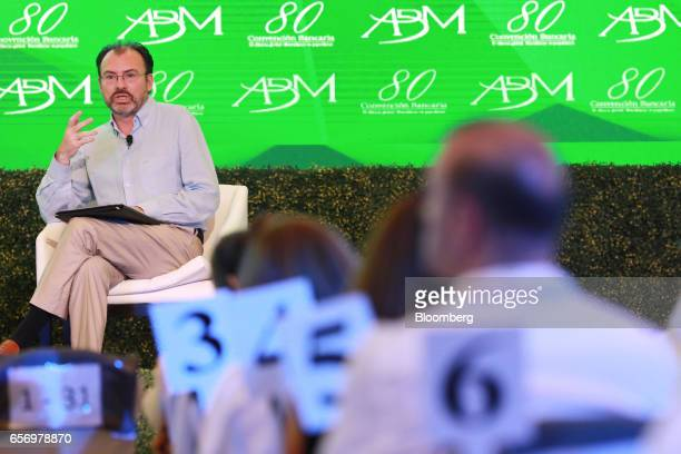 Luis Videgaray Mexico's foreign relations minister speaks during the 80th annual Mexican Banking Association in Acapulco Mexico on Thursday March 23...