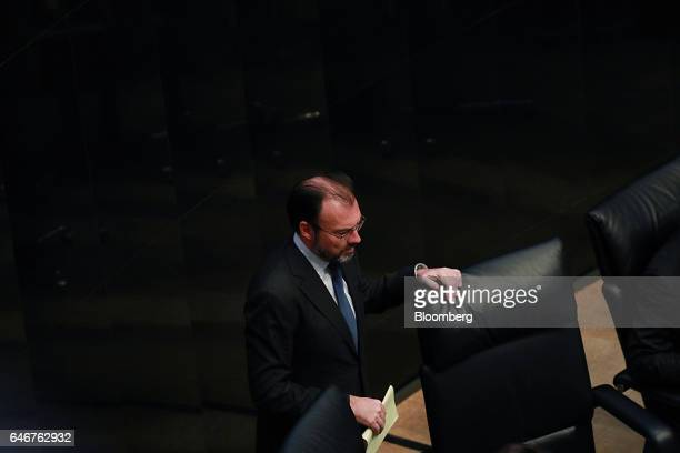 Luis Videgaray Mexico's minister of foreign affairs sits after speaking to members of the Senate in Mexico city Mexico on Tuesday Feb 28 2017...