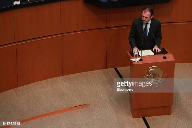Luis Videgaray Mexico's minister of foreign affairs speaks to members of the Senate in Mexico city Mexico on Tuesday Feb 28 2017 Videgaray said that...