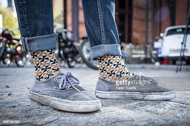 Luis wears Vans trainers and Sock Hop socks during the 'Mercado de Motores' at Ferrocarril museum on November 10 2014 in Madrid Spain