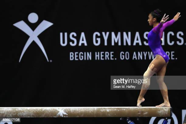 Luisa Blanco competes on the Balance Beam during the PG Gymnastics Championships at Honda Center on August 20 2017 in Anaheim California