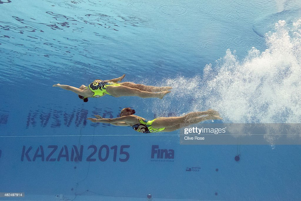 Luisa Borges and Maria Eduarda Miccuci of Brazil compete in the Women's Duet Free Synchronised Swimming Final on day six of the 16th FINA World Championships at the Kazan Arena on July 30, 2015 in Kazan, Russia.