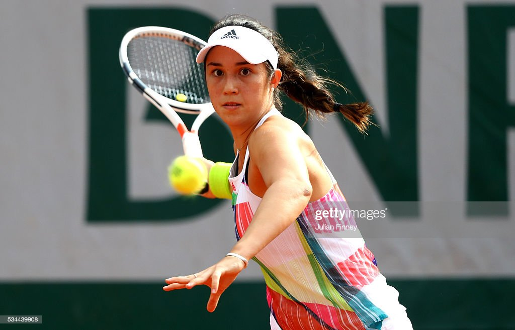 Luisa Chirico of the United States hits a forehand during the Ladies Singles second round match against Venus Williams of the United States on day five of the 2016 French Open at Roland Garros on May 26, 2016 in Paris, France.