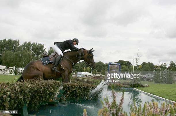 Luisa D ridden by Annette Hulsmann stops at the water Jump during the Bunn Leisure Queen Elizabeth II Cup on July 29 in Hickstead England