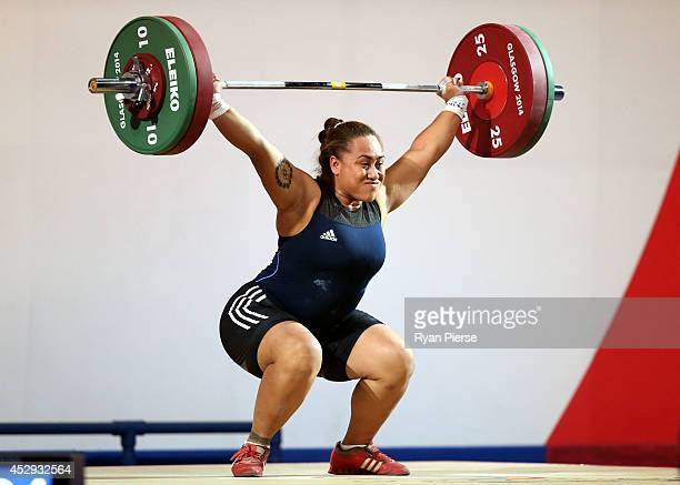Luisa Peters of Cook Islands lifts in the Women's 75kg Group A at Clyde Auditorium during day seven of the Glasgow 2014 Commonwealth Games on July 30...