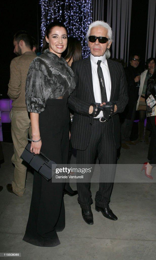 Luisa Ranieri and Karl Lagerfeld during Loris Cecchini Exhibition Fendi Party at Palais de Tokyo in Paris France