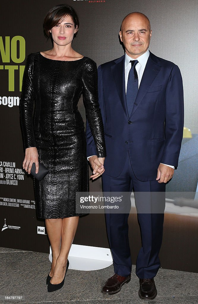 Luisa Ranieri and Luca Zingaretti attend the preview of film 'Adriano Olivetti. La forza di un sogno' on October 16, 2013 in Milan, Italy.