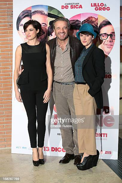Luisa Ranieri Christian De Sica and Arisa attend the 'Colpi di Fulmine' photocall at Auditorium Parco Della Musica on December 12 2012 in Rome Italy