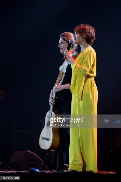 Luisa Sobral and show host Fatima Lopes during the Juntos por Todos solidarity concert for the victims of the forest fires in the Pedrogao Grande...