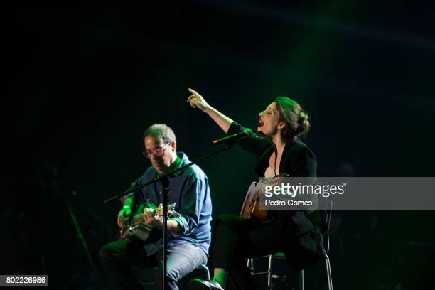 Luisa Sobral performs during Juntos por Todos solidarity concert for the victims of the forest fires in the Pedrogao Grande region of Portugal on...