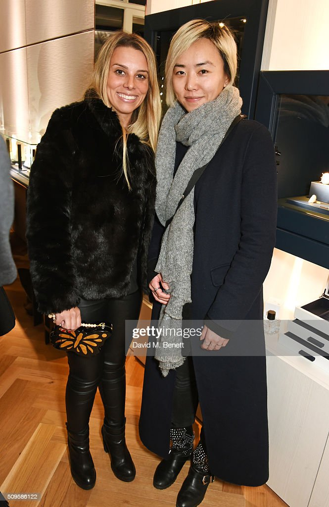 Luisa Vautier Franco (L) and Ophelia Hu attend the APM Monaco flagship store opening on South Molton Street on February 11, 2016 in London, England.