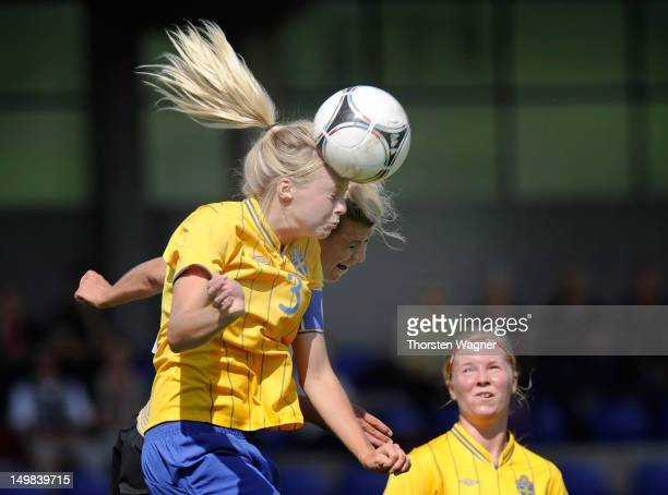Luisa Wensing of Germany battles for the ball with Amanda Ilestedt of Sweden during the women's U20 international friendly match between Germany and...