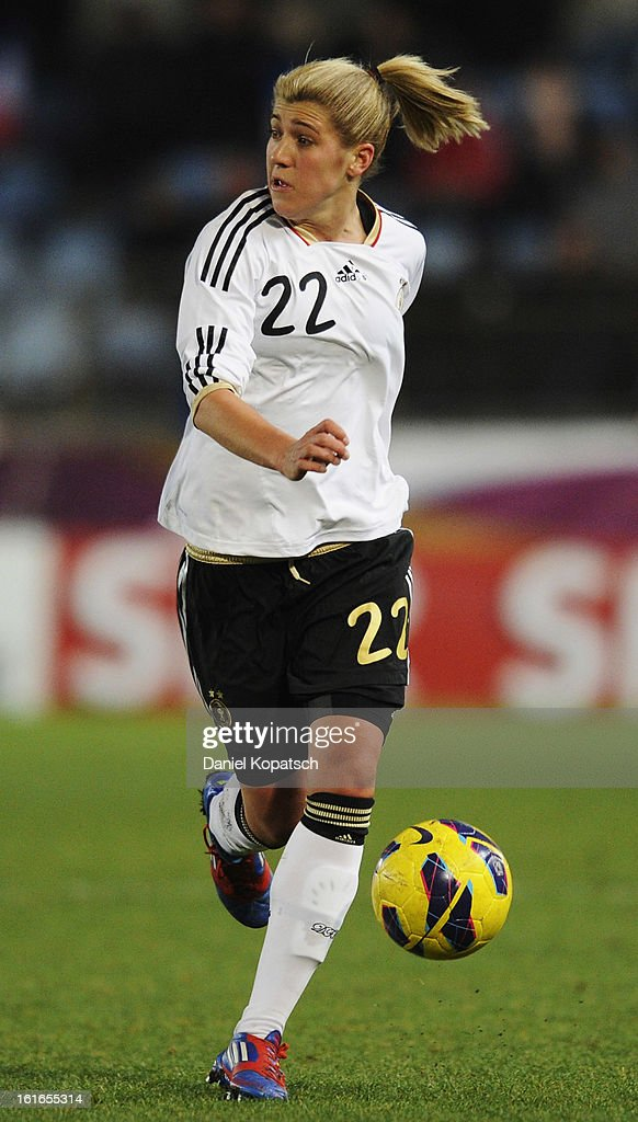 Luisa Wensing of Germany controles the ball during the international friendly match between France and Germany at Stade de la Meinau on February 13, 2013 in Strasbourg, France.