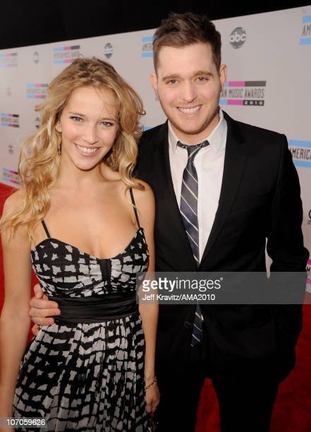 Luisana Lopilato and singer Michael Buble arrive at the 2010 American Music Awards at Nokia Theatre LA Live on November 21 2010 in Los Angeles...