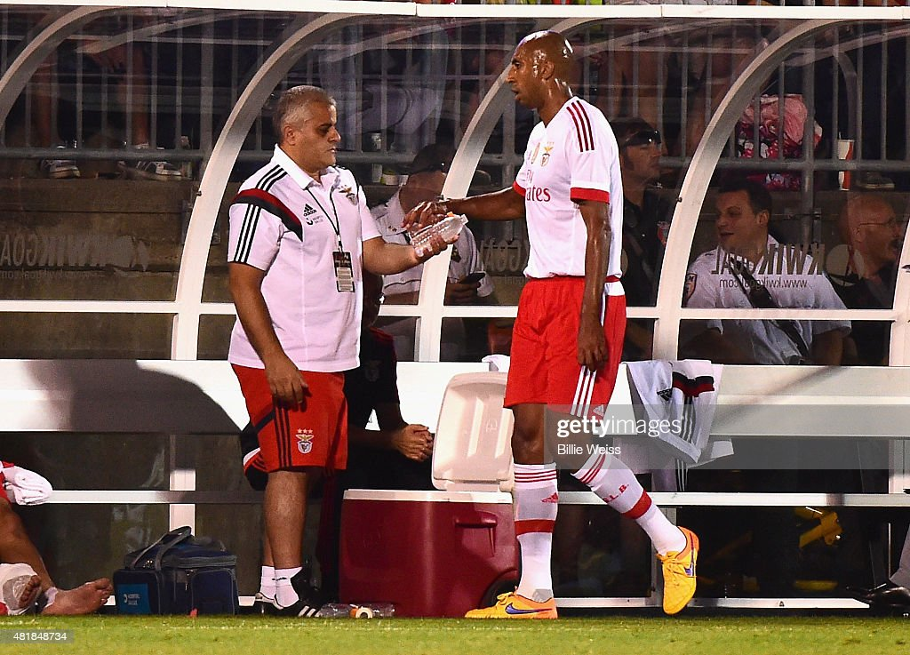 <a gi-track='captionPersonalityLinkClicked' href=/galleries/search?phrase=Luisao&family=editorial&specificpeople=490899 ng-click='$event.stopPropagation()'>Luisao</a> #4 of FS Benfica reacts after being given a red card during the second half of an International Champions Cup 2015 match against ACF Fiorentina at Rentschler Field on July 24, 2015 in East Hartford, Connecticut.
