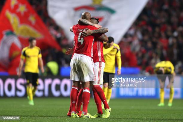 Luisao of SL Benfica celebrates with teammate Ljubomir Fejsa following the UEFA Champions League Round of 16 first leg match between SL Benfica and...