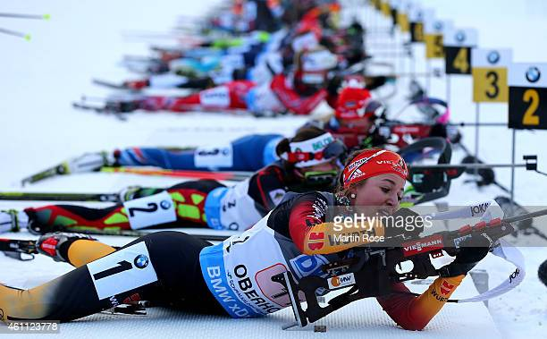 Luise Kummer of Germany reloads her weapon during the Women's 4x 60 km relay of the BMW World Cup on January 7 2015 in Oberhof Germany