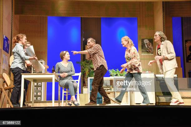 Luise Schubert Eric Bouwer Claudia Rieschel Heinrich Schafmeister Annalena Mueller and Winfried Glatzeder during the 'Wir sind die Neuen'Rehearsal at...