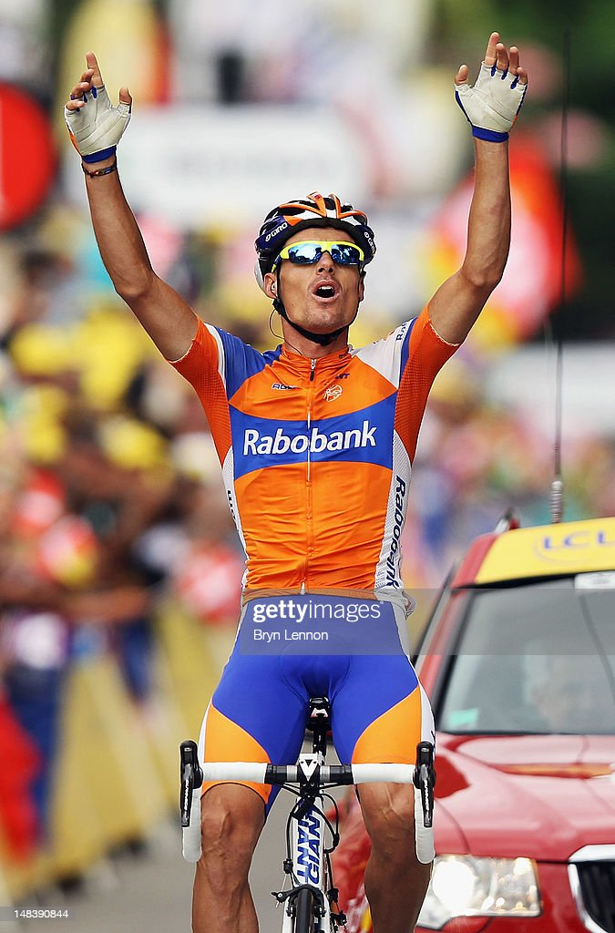 <a gi-track='captionPersonalityLinkClicked' href=/galleries/search?phrase=Luis-Leon+Sanchez&family=editorial&specificpeople=5085766 ng-click='$event.stopPropagation()'>Luis-Leon Sanchez</a> of Spain and the Rabobank Cycling Team celebrates winning stage fourteen of the 2012 Tour de France from Limoux to Foix on July 15, 2012 in Foix, France.