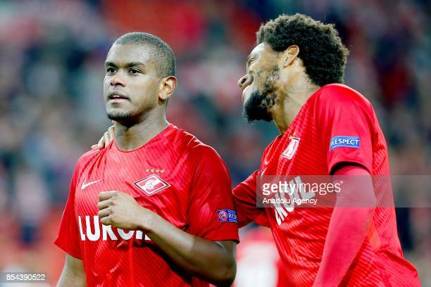 Luiz Adriano and Fernando of Spartak Moscow celebrations after match score the UEFA Champions League match between Spartak Moscow and Liverpool FC at...