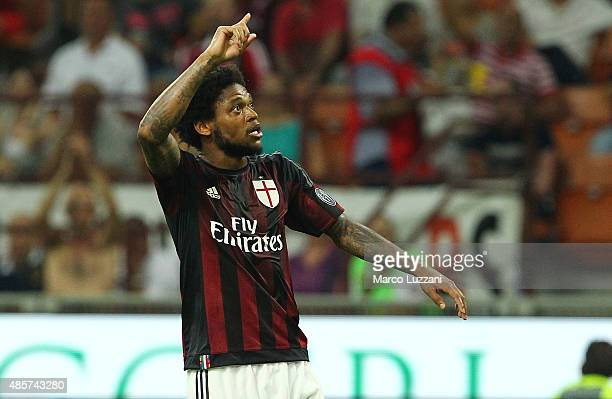 Luiz Adriano of AC Milan celebrates his goal during the Serie A match between AC Milan and Empoli FC at Stadio Giuseppe Meazza on August 29 2015 in...