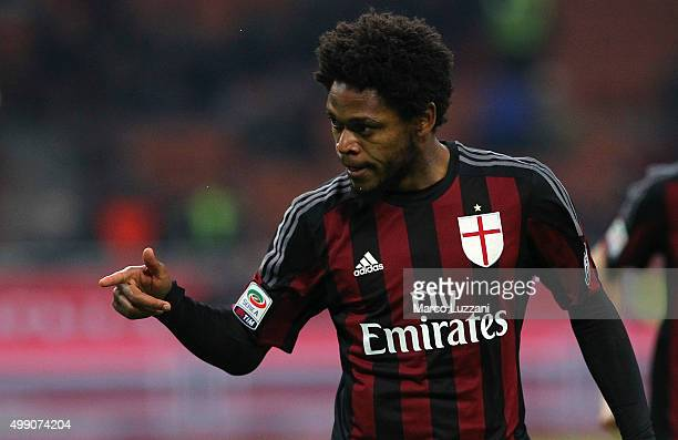Luiz Adriano of AC Milan celebrates his goal during the Serie A match between AC Milan and UC Sampdoria at Stadio Giuseppe Meazza on November 28 2015...