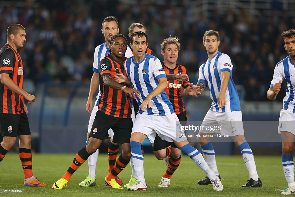 Luiz Adriano of FC Shakhtar Donetsk duels for the ball with Mikel Gonzalez of Real Sociedad during the UEFA Champions league football match between...
