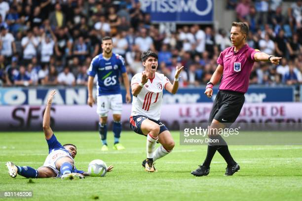 Luiz De Araujo of Lille looks dejected during the Ligue 1 match between Racing Club Strasbourg and Lille OSC at Stade de la Meinau on August 13 2017...