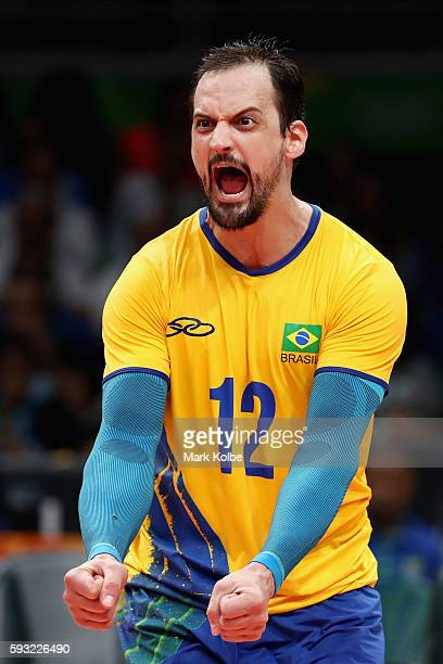 Luiz Felipe Marques Fonteles of Brazil celebrates during the Men's Gold Medal Match between Italy and Brazil on Day 16 of the Rio 2016 Olympic Games...