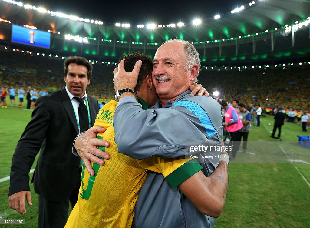 Luiz Felipe Scolari head coach of Brazil embraces Neymar of Brazil at the end of the FIFA Confederations Cup Brazil 2013 Final match between Brazil and Spain at Maracana on June 30, 2013 in Rio de Janeiro, Brazil.