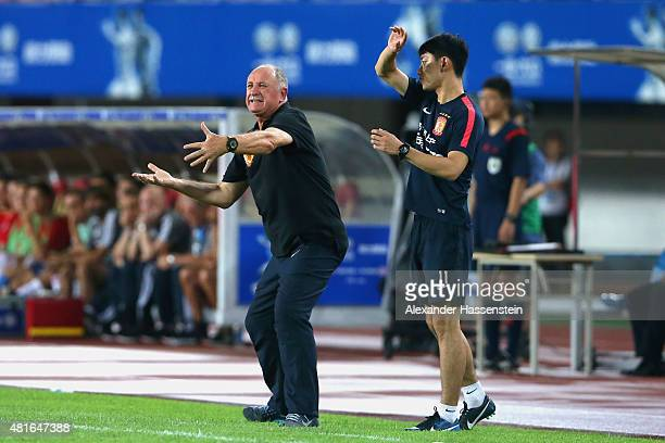 Luiz Felipe Scolari head coach of Guangzhou reacts during the international friendly match between FC Guangzhou Evergrande Taobao FC and FC Bayern...