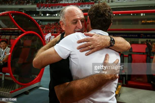 Luiz Felipe Scolari headcoach of Guangzhou Evergrande and Andre VillasBoas head Coach of Shanghai SIPG greet piror to the AFC Champions League 2017...