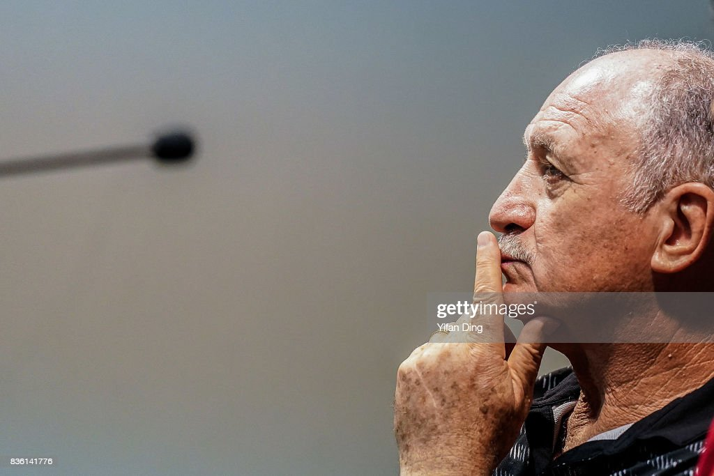 Luiz Felipe Scolari headcoach of Guangzhou Evergrande reacts during pre-match press conference of the AFC Champions League 2017 Quarterfinals 1st leg between Shanghai SIPG v Guangzhou Evergrande at Shanghai Stadium on August 21, 2017 in Shanghai, China.