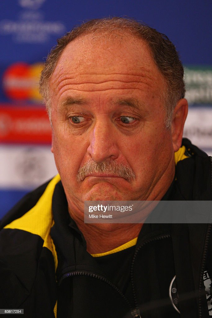 Luiz Felipe Scolari manager of Chelsea pulls a face during a press conference prior to the UEFA Champions League Group A match between Bordeaux and...