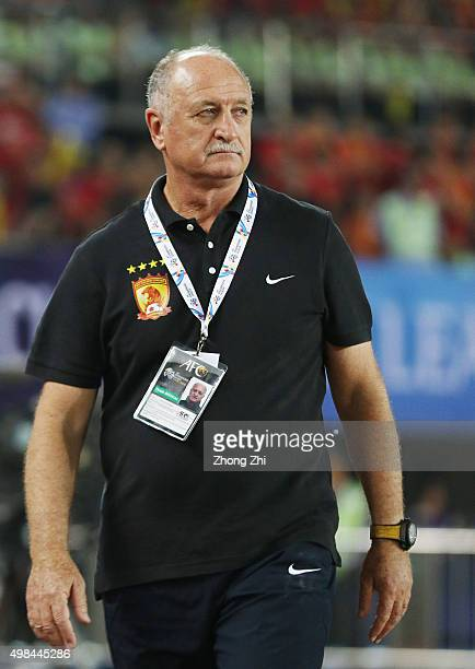 Luiz Felipe Scolari of Guangzhou Evergrande looks on during the Asian Champions League Final 2nd leg Match between Guangzhou Evergrande and Al Ahli...