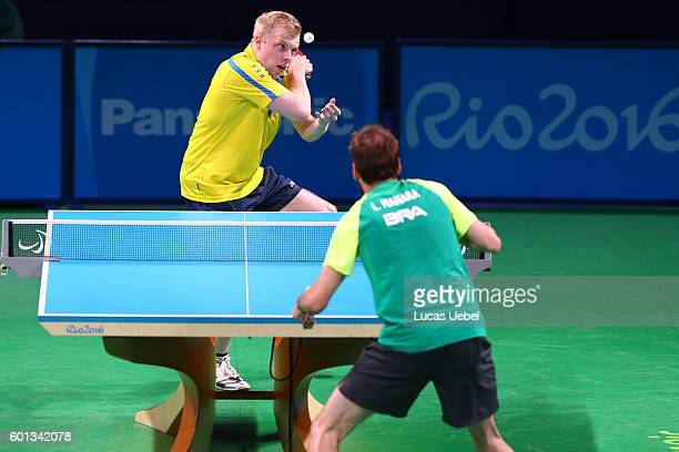 Luiz Filipe Guarneri Manara of Brazil competes against Linus Karlsson of Sweden in the men's singles Table Tennis Class 8 on day 2 of the Rio 2016...