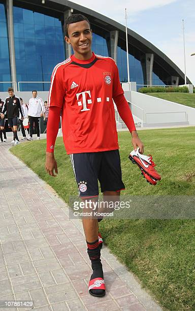 Luiz Gustavo attends the FC Bayern Muenchen training session at Aspire Academy for Sports Excellence training ground on January 4 2011 in Doha Qatar