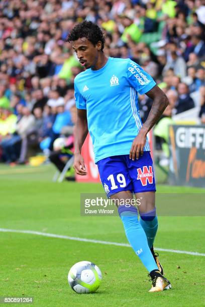 Luiz Gustavo Dias of Marseille during the Ligue 1 match between FC Nantes and Olympique Marseille at Stade de la Beaujoire on August 12 2017 in Nantes