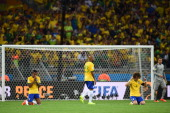 Luiz Gustavo Maicon David Luiz and Julio Cesar of Brazil react after a 71 defeat to Germany during the 2014 FIFA World Cup Brazil Semi Final match...