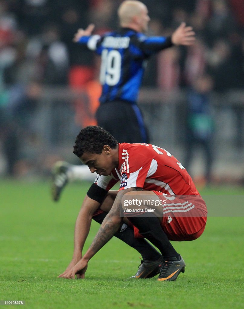 Luiz Gustavo of Bayern Muenchen reacts after his team's loss of the UEFA Champions League round of 16 second leg match between FC Bayern Muenchen and Inter Milan at Allianz Arena on March 15, 2011 in Munich, Germany.