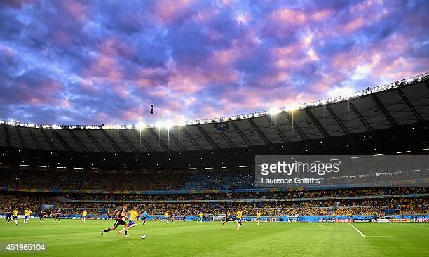 Luiz Gustavo of Brazil and Thomas Mueller of Germany during the 2014 FIFA World Cup Brazil Semi Final match between Brazil and Germanyat Estadio...