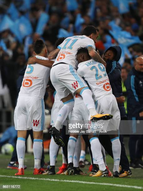 Luiz Gustavo of Marseille celebrates after scoring a goal to make it 10 during the Ligue 1 match between Olympique Marseille and Paris Saint Germain...
