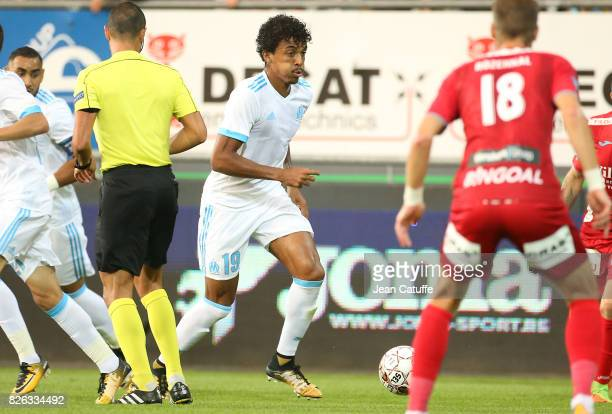 Luiz Gustavo of OM during the UEFA Europa League third qualifying round second leg match between KV Oostende and Olympique de Marseille at Versluys...