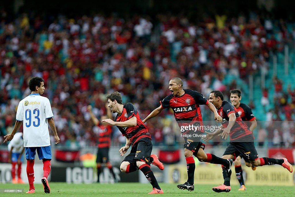 Luiz Gustavo of Vitoria celebrates his goal during the match between Vitoria and Bahia as part of Brasileirao Series A 2014 at Arena Fonte Nova on...